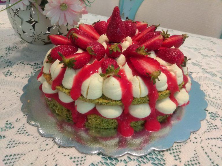 Спаначена торта с бял шоколад